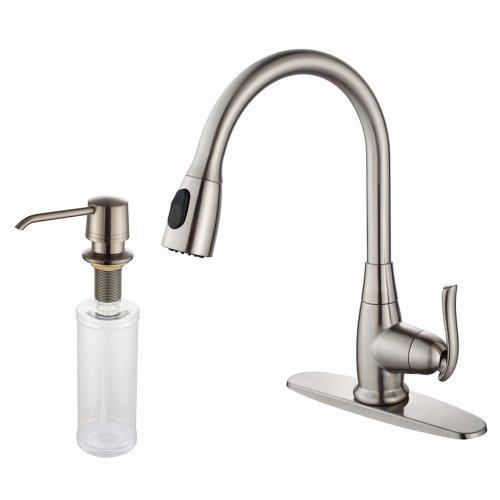 Brushed Satin Chrome Single (Kraus KPF-2230-KSD-30SN Single Lever Pull Out Kitchen Faucet and Soap Dispenser Satin Nickel)