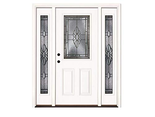 Feather River Doors Sapphire Half Lite Primed Smooth Fiberglass Entry Door with Sidelites