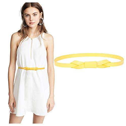 WERFORU Womens Skinny Leather Belts for Dress Adjustable Yellow Thin Waist Belt for Lady Fit 25