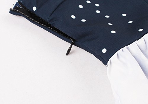 Robe V Style Rtro Cocktail Bleu VKStar Vintage l Imprime Simple Party Marine Femme Col Robe Rockabilly de Robe No 87OZxwq
