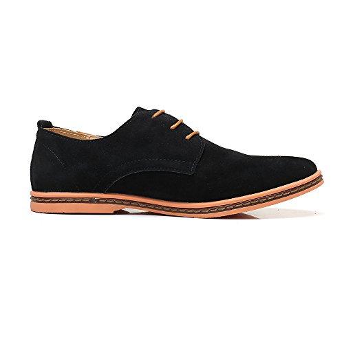 AARDIMI Mens Lace-Up Casual Chaussures Nouveau Printemps Hommes Appartements Lace Up Homme Daim Richelieus Hommes Chaussures en Cuir (Fabricant Taille Graphique IM Note Image) Noir i8V2tVG