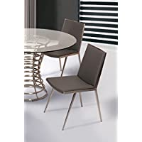 Armen Living LCIBCHGRB201 Ibiza Dining Chair Set of 2 in Grey Faux Leather and Brushed Stainless Steel Finish