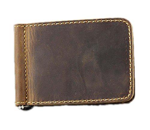 Fashion Slim Men Money Clips Alligator Pattern Brown Card Wallet Genuine Leather Cash Money With Zipper Pocket