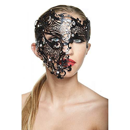 Spellbinding Phantom Black Masquerade Mask (Unisex; Clear Rhinestones; Large)