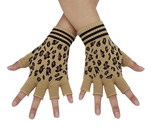 Bienvenu Unisex Half Finger Gloves Kint Convertible Fingerless Winter Mitten, Leopard