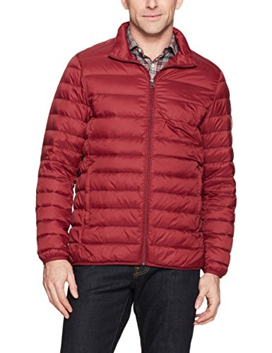 Amazon Essentials Men's Lightweight Water-Resistant Packable Down Jacket, Brick Red, Large (Best Packable Puffer Jacket)