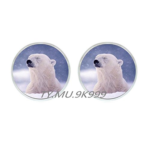 (Yao0dianxku Tribal bear Earrings spirit guide Earrings polar bear totem amulet teddy bear Earrings wolf Stud Earrings white bear Earrings polarbear Earrings.Y152 (1))