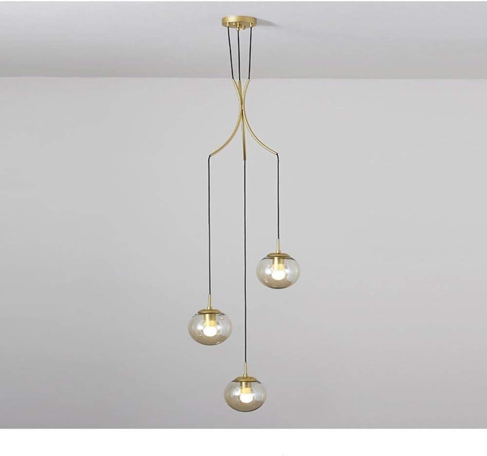 SLYT Contemporáneos escaleras lámpara Colgante Colgante Largo lámpara Colgante 3flammige Simple luz salón Loft Bola de Cristal de luz de Techo lámparas de rotación, Oro,Round 3 flammige