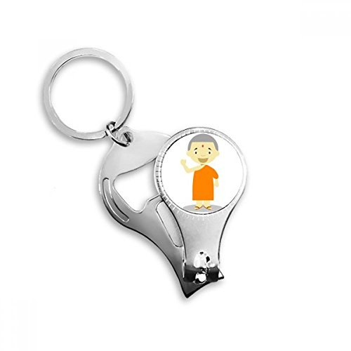 Orange Gown Monk Nepal Cartoon Metal Key Chain Ring Multi-function Nail Clippers Bottle Opener Car Keychain Best Charm Gift