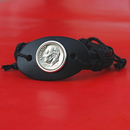 US 2005 Roosevelt Dime 10 Cent Coin Genuine Black Leather Cuff Bangle Wristband Bracelet - Roosevelt Bands Dime