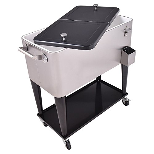 Giantex Patio Cooler Rolling Cart Outdoor Portable Stainless Steel Ice Beverage Chest Pool with Bottle Opener, 80 Quart by Giantex (Image #3)