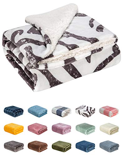 (WONDER MIRACLE Fuzzy Sherpa Double Layers Super Thick and Warm Fleece Reversible Infant,Baby,Toddler,pet Blanket for Crib, Stroller, Travel, Couch and Bed (40Wx50L, Zebra))
