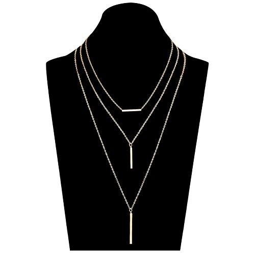 ALEXY Layered Bar Pendant Necklace Set, Bohemia Multi-Strand Stick Bar Choker Necklaces Minimalist Y Chain Necklace for Women(Gold)
