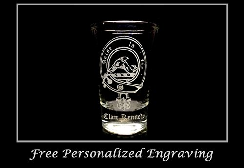 Kennedy Scottish Family Clan Crest Shot Glass 2oz - Free Personalized Engraving, Celtic Decor, Scottish (Scottish Clan Coat Arms)