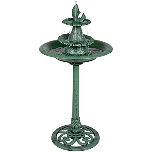 (Alpine Corporation 3-Tiered Pedestal Water Fountain and Bird Bath with Fish Design - Ceramic Vintage Decor for Garden, Patio, Deck, Porch - Green)