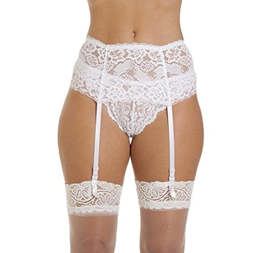 White Garter Belt (Sensphi Women's Lace Garter Belt and Stocking Sets (White))