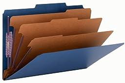 Smead Pressboard Classification File Folder with SafeSHIELD Fasteners, 3 Dividers, 3\
