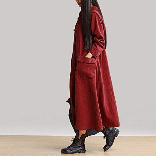 Maniche cappuccio con Vino Felpa Elegante Lunghe terra cappuccio a liquidazione Tops di Camicie Casual con Vendita Rosso Maxi giacca Camicette Autunno XFvPHwf