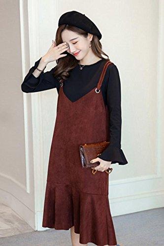 3cbfea3bb2845 Amazon.com : Autumn Korean version suede pregnant women strap dress strap  dress solid color sleeveless shirt two-piece maternity dress for women girl  : ...
