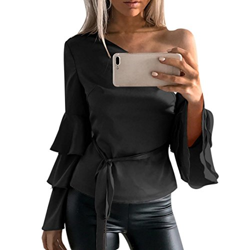 Women Long Sleeve T Shirt,Napoo Lotus Sleeve Off Shoulder Oblique Collar Solid Blouse With Belt (XL, Black)