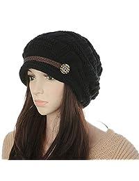 ArRord® Women Knit Snow Hat Winter Snowboarding Beanie Crochet Cap (Black)