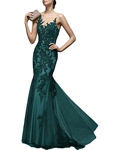 LMBRIDAL Women's Elegant Sheer Neck Evening Dress Lace Mermaid Formal Gown Jade 10