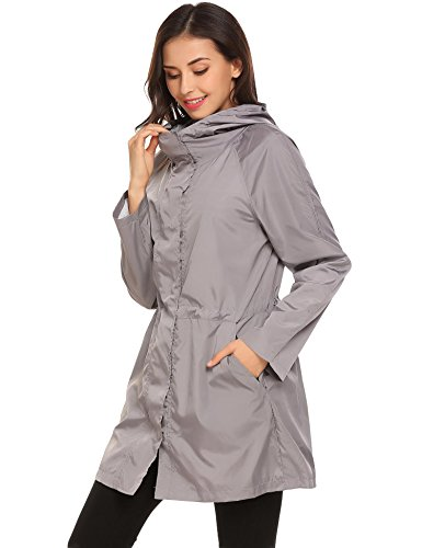 Waterproof Windbreaker Lightweight Hooded Casual Grey Womens Light Long soteer Jacket Outerwear YgUfqnw