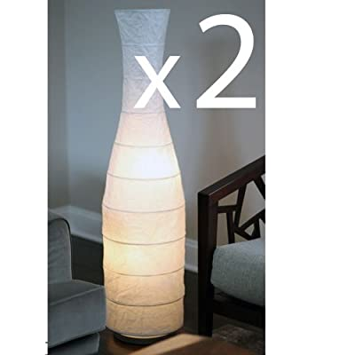 Set of 2 Rice Paper Floor Lamps , with White Shade Lantern , Gives Soft Mood Light , Oriental Decorative Accent Lighting , 4 Bulbs Are Included