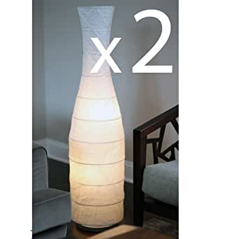 Set of 2 rice paper floor lamps with white shade lantern for Paper floor lamp amazon