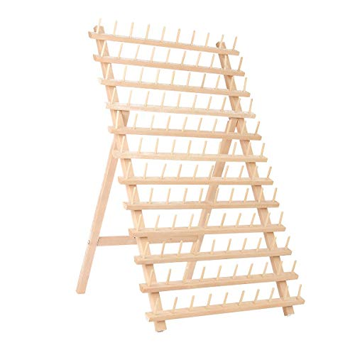 Embroidery Thread Rack SAFETYON 120 Spool Wooden Bobbin Thread Rack Organizer for Sewing Quilting Embroidery Craft