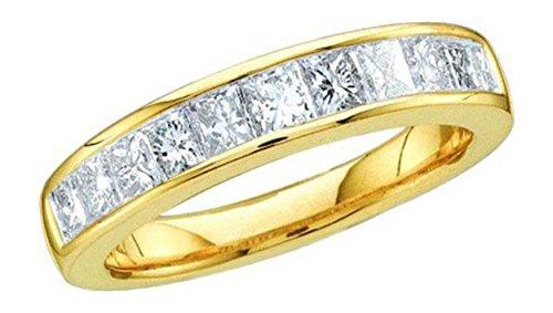 0.5 cttw 14k Yellow Gold Princess Diamond Cut Channel Set Wedding Band His Hers Design 4mm W (Sizes 3-11)