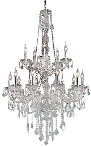 Worldwide Lighting Provence Collection 15 Light Chrome Finish and Clear Crystal Chandelier 33