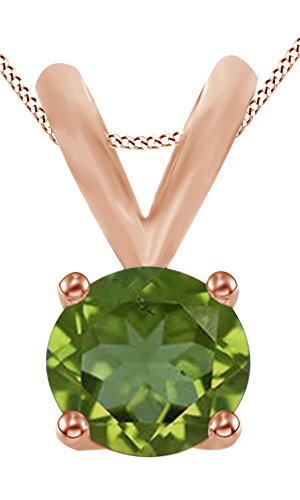 AFFY Round Cut Simulated Green Peridot Solitaire Pendant Necklace In 14K Solid Rose Gold (0.5 Ct)