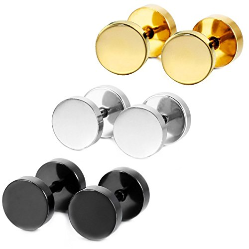 316L Surgical Stainless Steel Mens Womens Double Side Stud Earrings Ear Plugs Tunnel 3 Pairs (3 Color) (Stainless Steel Fake compare prices)