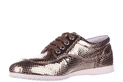 clásico zapatos oro en nuevo cordones mujer piel de h258 Hogan derby 4qwad5gxCq