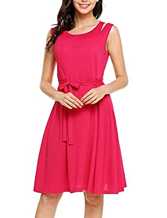 ANGVNS Women's Summer Sleeveless A-line Pleated Hollow Party Cocktail Dress with Belt