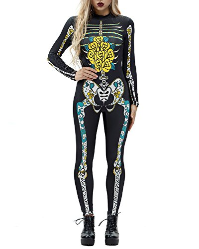 Women 3D Style Halloween Cosplay Costumes Jumpsuit Bodysuit (X-Large, Yellow Skull-A)