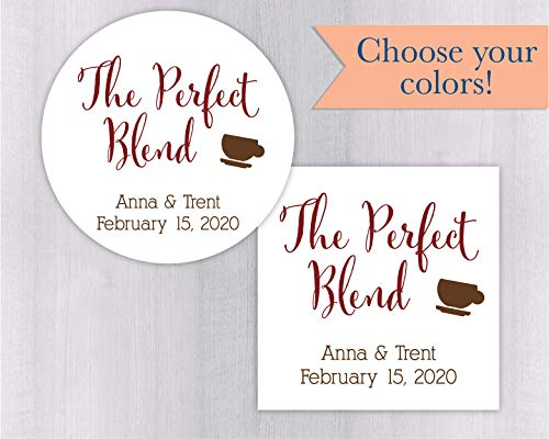 The Perfect Blend Wedding Favor Stickers For Tea or Other Drink Favors (#097)