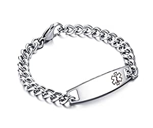 Free Custom Engraved Stainless Surgical Steel Medical Alert ID Tag Bracelets from BBX JEWELRY