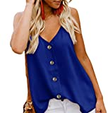 Angerella Women's Ladies Sexy Sleeveless V Neck Spaghetti Strap Loose Tank Tops Camisole Shirt Blue,S