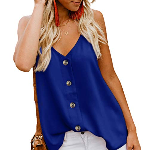 (Angerella Women's Ladies Sexy Sleeveless V Neck Spaghetti Strap Loose Tank Tops Camisole Shirt Blue,S)