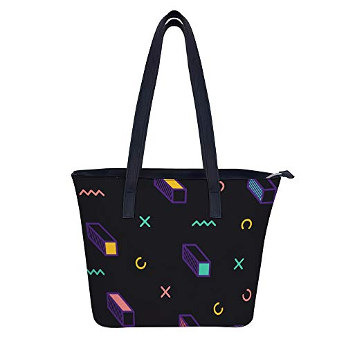 SARA NELL Women's Leather Tote Shoulder Bags Handbag Trendy Geometric Elements Memphis Style Handbags For Work Travel Business Beach Shopping School -