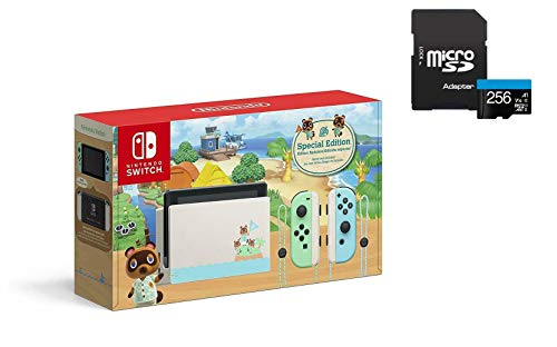 """Newest Nintendo Switch with Green and Blue Joy-Con - Animal Crossing: New Horizons Edition - 6.2"""" Touchscreen LCD Display - KKE 256GB MicroSD Card Holiday Bundle"""