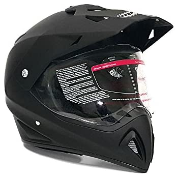 Helmet Dual Sport Off Road Motorcycle Dirt Bike ATV - FlipUp Visor - 27V (L, Matte Black)
