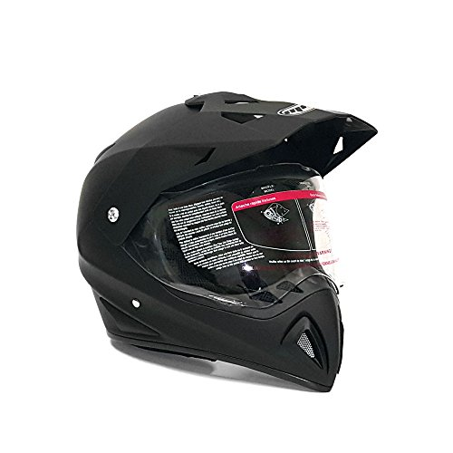 MMG 27V Helmet Dual Sport Off Road Motorcycle Dirt Bike ATV, FlipUp Visor, Matte Black, Large (Atv Helmet Visor With)
