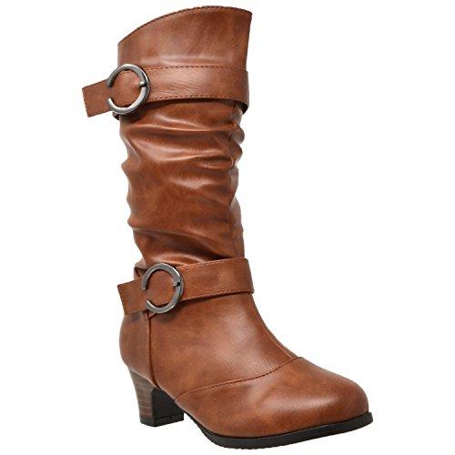 Boots Knee Girls' Slouchy Youth Low Kids Brown Heel High Aq0Swxa