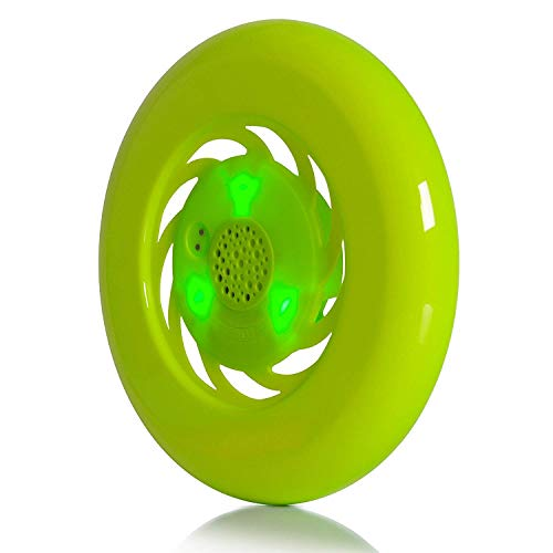 Water Bluetooth Speakers,Wireless Waterproof Speaker with LED Light Flying Saucer Design Magnetic Suction Charging Fly Disc for Camping Swimming Fitness Kids and Pets Toys (Green)