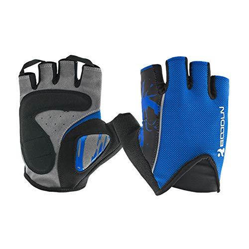 Daesar Winter Gloves for Men Biking Gloves Half Finger Exercise & Fitness Microfiber Cycling Gloves Blue Small