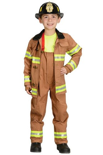 Fireman Costumes For Kids (Aeromax Jr. Fire Fighter Suit with Helmet, Size 4/6 - Tan)