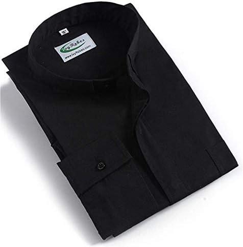 メンズタブカラー長袖聖職者シャツ4色